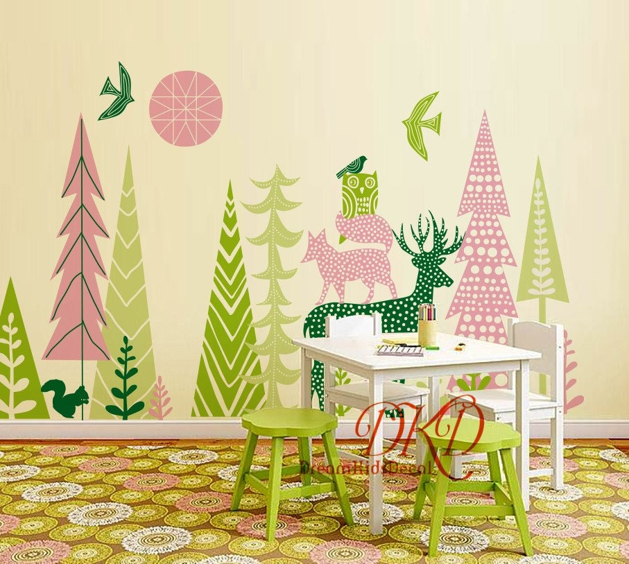 Woodland Forest Nursery Wall Decal Kids room decal, Vinyl wall ...