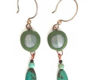Turquoise Bohemian Earrings, Bohemian Dangle Earrings, Turquoise Bead Earrings, Tribal Earrings, Boho Chic Earrings