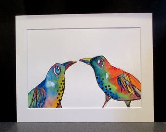 Love Birds..An original watercolour and pencil painting by Suzanne Patterson.