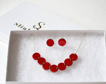 Minimal jewelry set, Minimal geometric, 3rd anniversary gift, Birthday gift, Red leather jewelry, Dainty jewelry set, Wife jewelry set,wifey