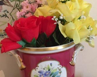 Vintage Vista Alegre Hand Painted Jardiniere flower porcelain pot // Made in Portugal