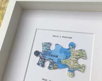 Puzzle wall art etsy jigsaw puzzle personalised maps love map art jigsaw puzzle you complete me sciox Images