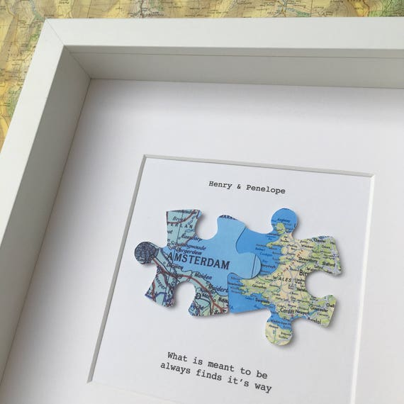 Jigsaw puzzle personalised maps love map art jigsaw like this item gumiabroncs Choice Image