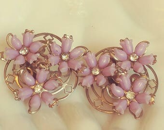 Vintage Purple Flower Earrings