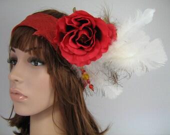 cordeline red sisal wedding headband
