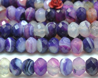 68 pcs of Natural Purple banded Agate  faceted rondelle beads in 5x8mm (06270#)