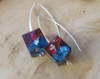geometric earrings, dangle earrings, resin earrings, silver resin earrings, square silver earrings, resin jewelry, resin earrings for her
