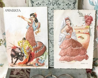 Two beautiful silk embroidered Spanish postcards bullfighters