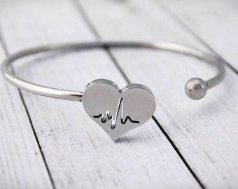 Heartbeat Bracelet - Bangle - ECG - Charm Bangle - Nurse Bracelet - Gift for Nurse - Physician Jewelry - Cardiologist - Medical Student