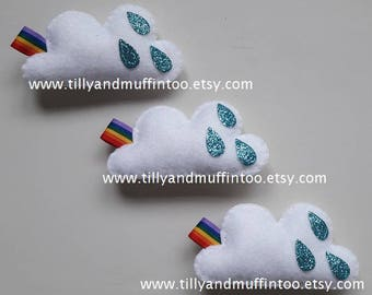 Felt Cloud Magnet.Cloud Magnet.Raindrop & Rainbow Magnet.Felt Cloud.Kawaii Cloud.Kawaii Magnet.Teacher Gift.Stocking Stuffer.