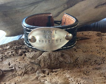 """Black Leather Cuff Bracelet / Repurposed Spoon Head - Stamped with """"Love You Mostest"""" / Item #B1104"""