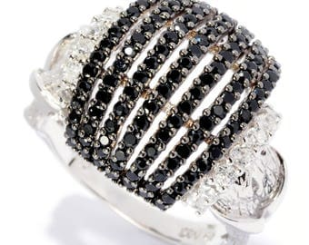 Sterling Silver 1.72ctw Black Spinel Ring SZ 7