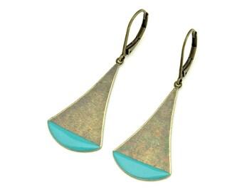 Earrings with blue enamel charms