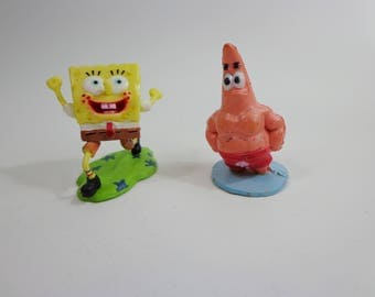 Spongebob Squarepants & Patrick with Muscles Tiny Mini Collectible Cake Toppers Fast Food Toy Figure, Decoration, Deco, Upcycle Crafts