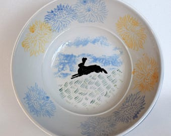 Running Black Hare and Carnations Handpainted Ceramic Fruit Bowl / Serving Dish / Salad Bowl