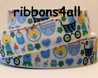 "7/8"" Baby Boy Ribbon Grosgrain Ribbon for Baby Gift, Girl Baby Shower , or Craft"