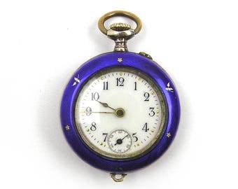 Vintage 1900s Pendant Watch Ladies Silver and Enamel Swiss Watch Enamel Watch Victorian Watch