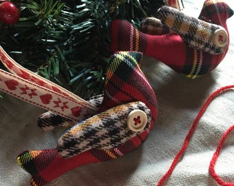 Tartan bird decoration