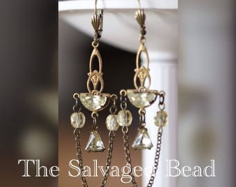 Antique Czech Glass Pale Jonquil Assemblage Earrings, circa 1950's by The Salvaged Bead