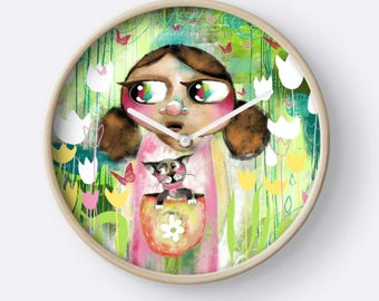 Whimsical Art Clock - Home Decor - Home Living - Furnishings - Interiors - HyssopArts - Artwork Designed by Beatrice Ajayi