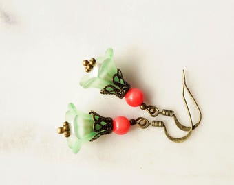 Earrings,  coral and mint lucite flower dangle earrings