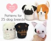 "PDF sewing pattern - Teacup Puppy dog stuffed animal plush VIDEO tutorials - 25 breeds 4.5"" plushie kawaii pug corgi rottweiler bulldog"