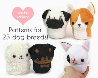 "PDF sewing pattern - Teacup Puppy dog stuffed animal plush VIDEO tutorials - 25 breeds 4.5"" plushie kawaii pug corgi rottweiler bulldog"