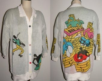 1980's 80s Abstract Art Cardigan / Made England Colorful Bold Music JAZZ Design / One of a Kind
