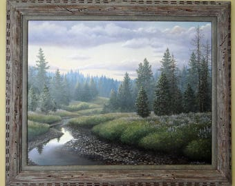 Original Painting of a Mountain Meadow and Stream
