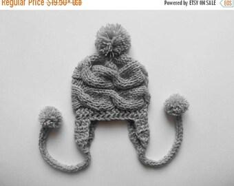 ON SALE 10% SALE Knit Baby Hat , Baby Boy Winter Hat, Newborn Hat Baby Hat Earflap , Baby Boy Outfit , Photo Prop