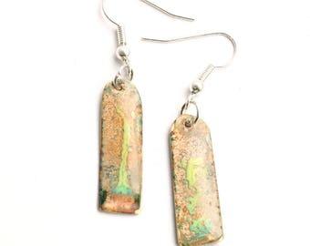 Enamel dangly earrings. Enamel jewellery by Katherine Reekie,