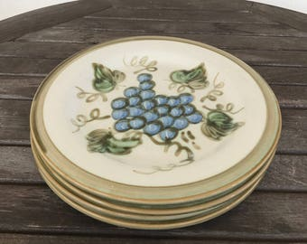 """John B Taylor """"Vintage"""" pattern salad or bread and butter plates with grape details"""