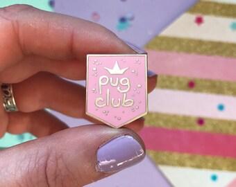 Pug pin, pug, pug gifts, Pug Club lapel pin, pug gift, pug brooch, pug pin, enamel pin, pastel pin badge, pink pug pin