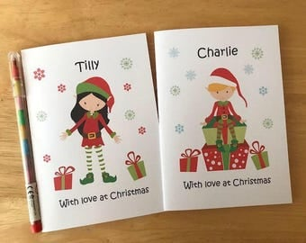 Personalised Childrens / Kids Christmas Xmas Activity Book  Stocking Filler, Christmas Eve Gift - ELF design