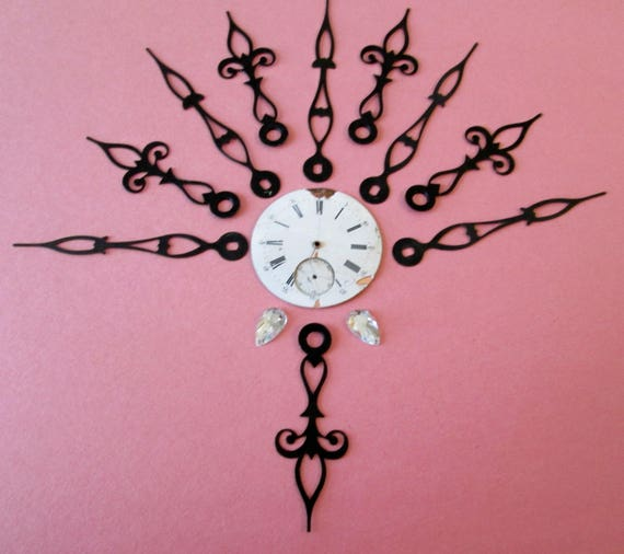 "5 Pairs of Vintage Fancy Black Steel Clock Hands 2 1/2"" & 3 1/8"" for your Clock Projects, Jewelry Making, Steampunk Art"