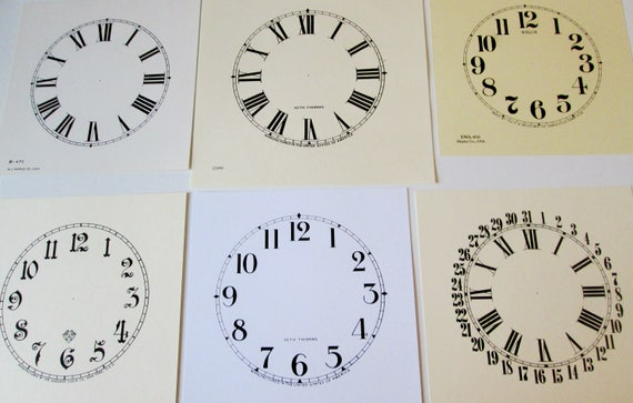 Lot 3.       6 Assorted Heavy Paper Reproduuction Clock Dials for your Antqiue/ Vintage / New  Clock Projects - Art Projects - Steampunk Art