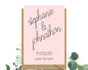 Blush Pink Save The Date cards x 20