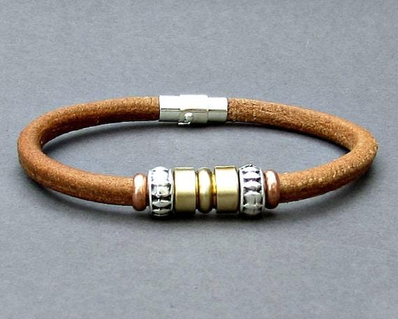 Mens Leather Bracelet, Silver Mens Beaded Bracelet, Bracelet For Him, Antique Silver Plated, Customized On Your Wrist