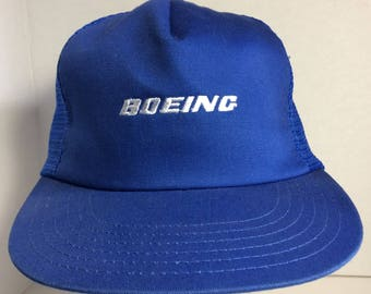 Boeing Truckers Snapback Vintage Net Blue Baseball Cap Hat Made in USA