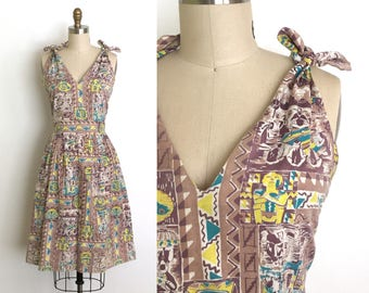 RESERVED vintage 1950s dress | 50s aztec novelty print sun dress
