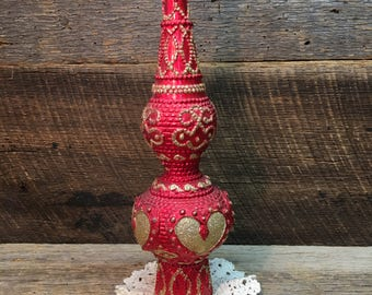 Vintage Christmas Tree Topper/Red/Gold Glitter/Plastic/Tall