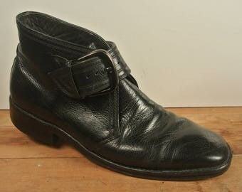 Freeman Free Flex Black Monk Strap Ankle Boot Men's Size: 8.5B