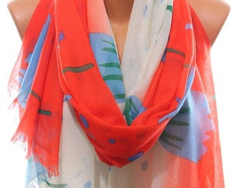 Tulip Print Coral White Blue Spring Summer Scarf Beach Coverup Pareo Women's Fashion Accessories Scarves Holidays Easter Gift Ideas For Her