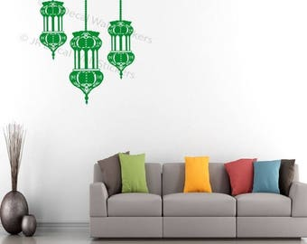 ON SALE Islamic Lamp Light Wall Sticker Removable Vinyl Wall Decal Arabic lamp Art Decor QV34