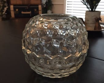 Vintage Cut Glass Candle Globe - Glass Candle Holder - Candle Decor