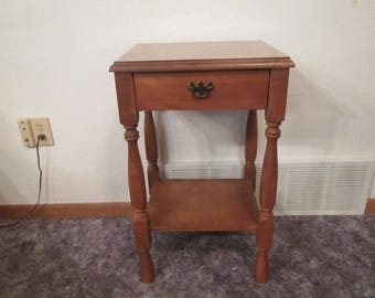 vintage table with drawer and lower shelftable end table bed table