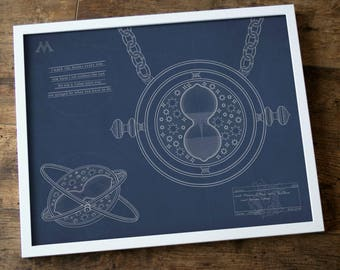 Blueprint of Hermione Granger's Time-turner! Massively Harry Potter, dweeby and rad. INSTANT DIGITAL DOWNLOAD.