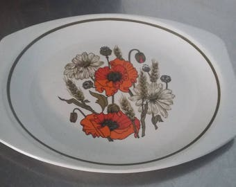 J&G Meakin Poppy Meat Fish Retro Serving Plate
