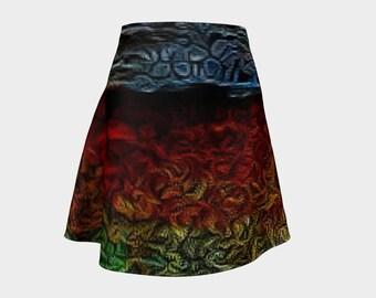 Red Flare Skirt/Jungle Print Skirt/Flare Skirt/Women's Office Clothing/High Waist Skirt/Made to Order