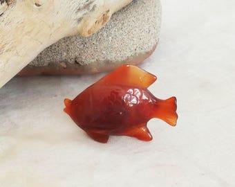 Vintage fish miniature, carnelian fish, caramel red, serjeant major fish miniature, Pintano carnelian fish miniature, late seventies